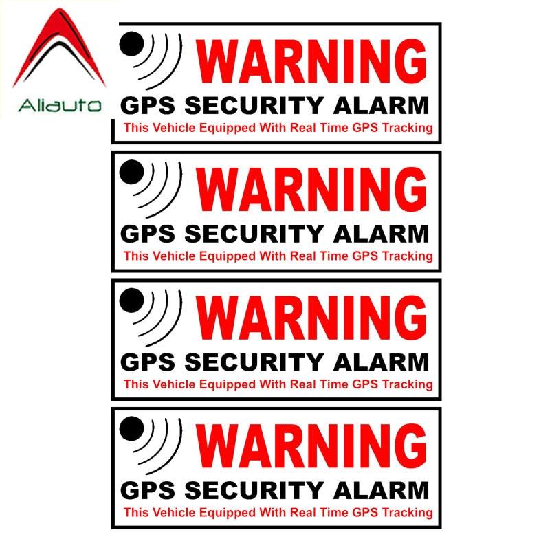 Aliauto 4 X Caution Car Sticker Gps Security Alarm Warning Mark Reflective Decal Automobile Motorcycle Parts PVC,10cm*3cm