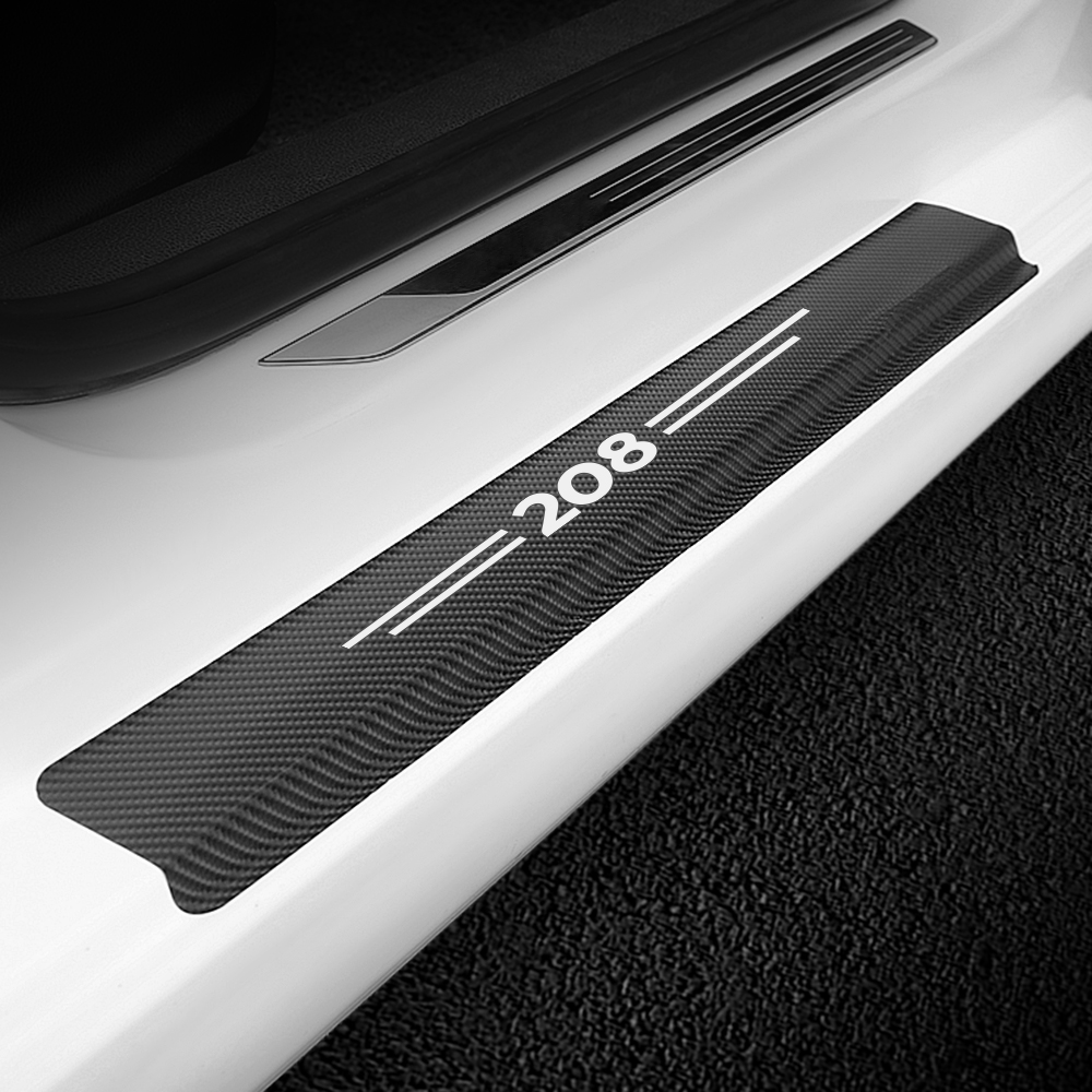 For Peugeot 208 QWASZX 4Pcs Door Sill Protector Car Styling Black Kick Plates Pedal Threshold Cover PU Leather Sticker Anti-Scratch Slip