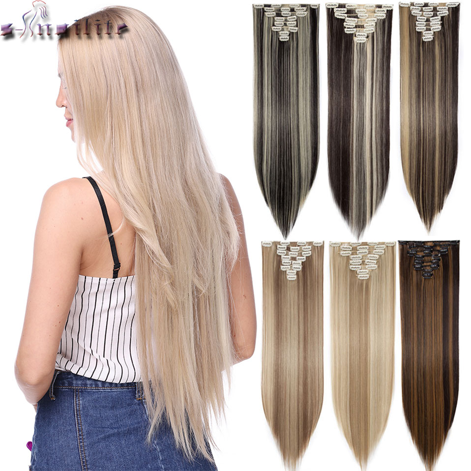 S-noilite 8Pcs Long 26 Inches Straight Clip In On Hair Extensions Real Synthetic Black Brown Red Pink Purple