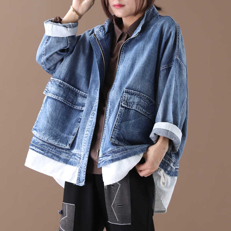 [EWQ] 2019 Autumn New Pattern Stand Collar Long Sleeve Fake Two Piece Denim Patchowrk Single Breasted Vintage Coat Women AH05105