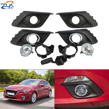 ZUK Front Bumper Fog Light Fog Lamp Modification Set For Mazda 3 Axela 2014 2015 2016 With Frame Bulbs Switch Chroming Cover
