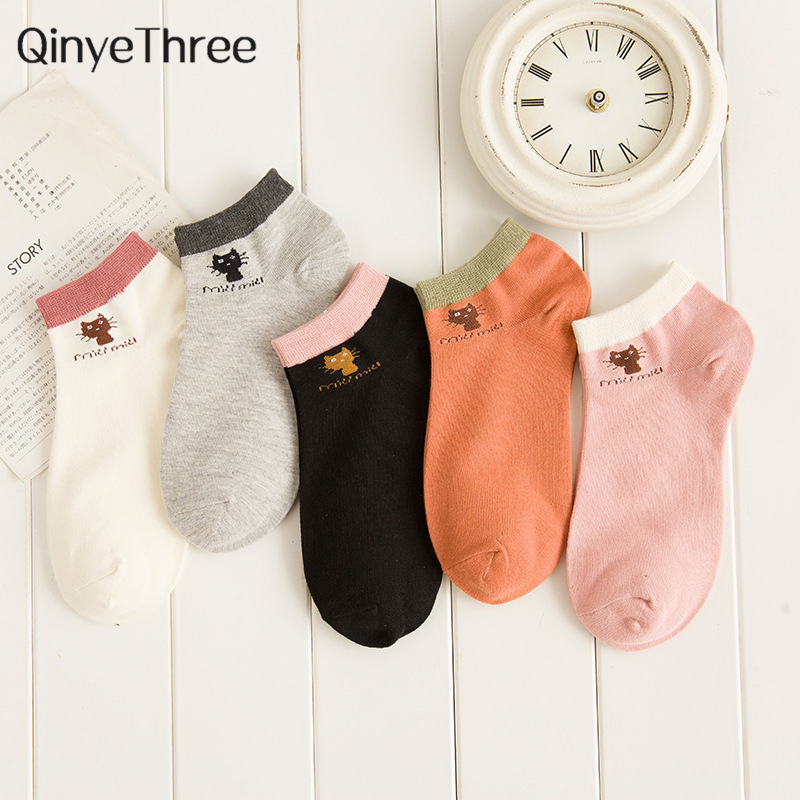 Summer CAT Warm Comfortable Cotton Bamboo Fiber Girl Women's Socks Ankle Low Female Invisible Color Girl Boy Hosier 1pair=2pcs