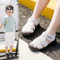 Детские кожаные сандалии  повседневная трендовая плетеная сетчатая детская обувь для мальчиков и девочек  модная Праздничная пляжная обув...
