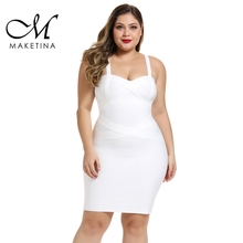 Maketina Plus Size Bandage Dresses 2019 New Arrivals Spaghetti Mini White Dress Sexy Club Party Bodycon