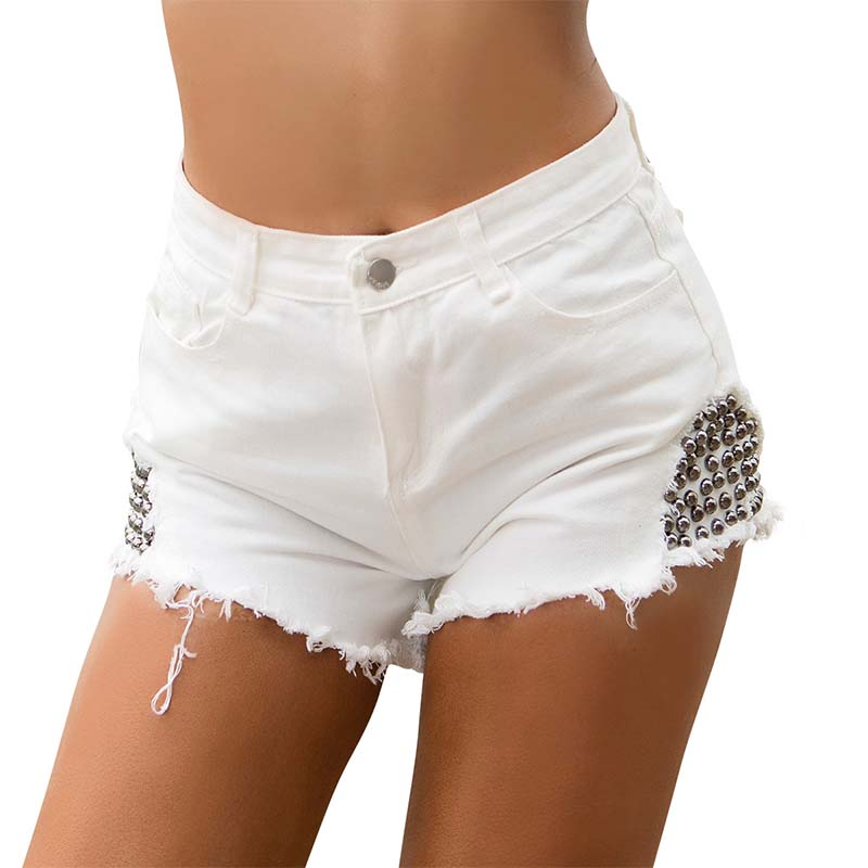 Women High Waist Denim Shorts Jeans Sexy Summer Rivet White Black Super Mini Booty Shorts Hotpant Thong Tassel Casual Club Short