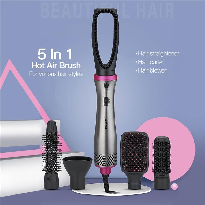5 In 1 Air Brush Set Professional Hair Straightener Curler Dryer Brush Multifunction Fast Hester Hair Styling Straight Curl 45