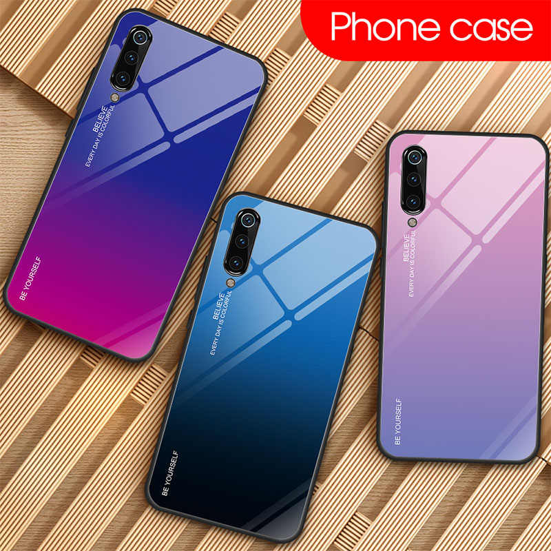 Gradient Colorful Tempered Glass Case for Xiaomi Mi 9 SE 8 Lite 9T Pro 6 Glossy Stained Case for Xiaomi A2 A1 Mix 2S Max 3 F1