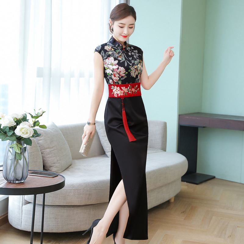 2019 Summer Wind Dress Retro Women's Chinese Costume Sleeveless Waist Hugging Long High Slit Banquet Formal Dress Cheongsam