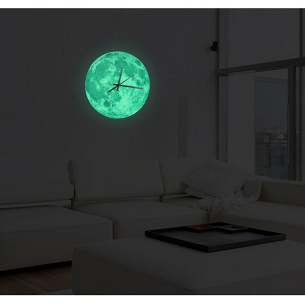 30cm Glowing Moon Wall Clock Waterproof  Luminous Hanging Clock Moon Clock Livingroom Bedroom Decor