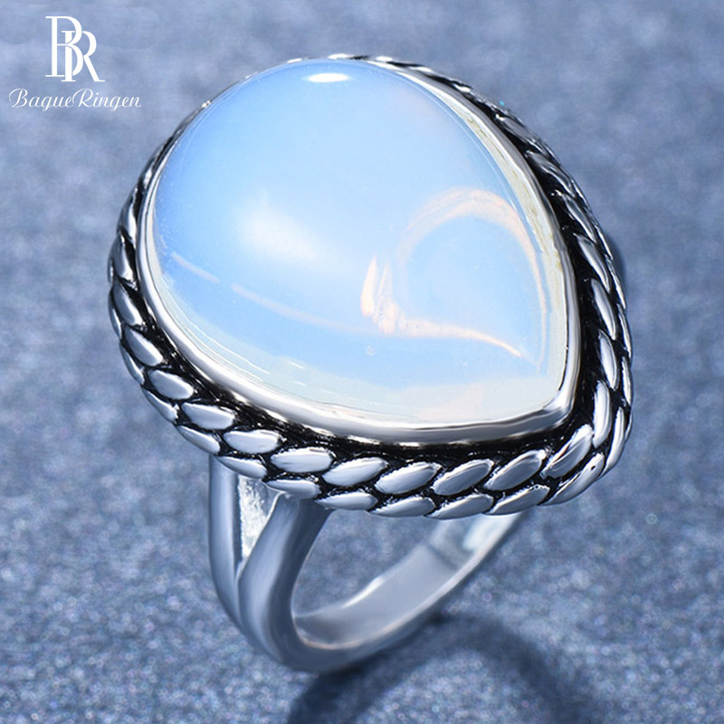 Bague Ringen Sterling Silver 925 Ring For Women Water Drop Pyriform Leaf Simple Fashion Student Birthday Gift Size5,6,7,8,9,10