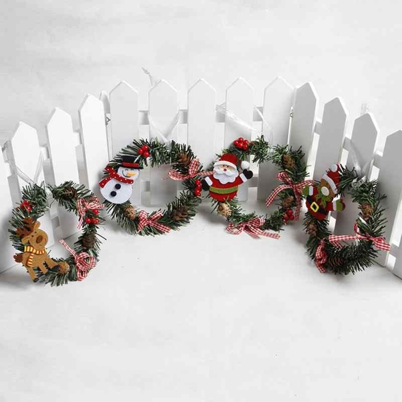 Guirlande pendentif en rotin fait à la main   Décoration de porte de noël, bonhomme de neige, Elk père noël, décorer cadeau de noël