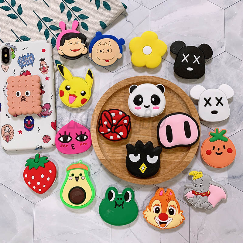 Silicone Cartoon Phone Holder Expanding Stand Finger Holder For Samsung Xiaomi Universal Phone Stand Car Phone Holder