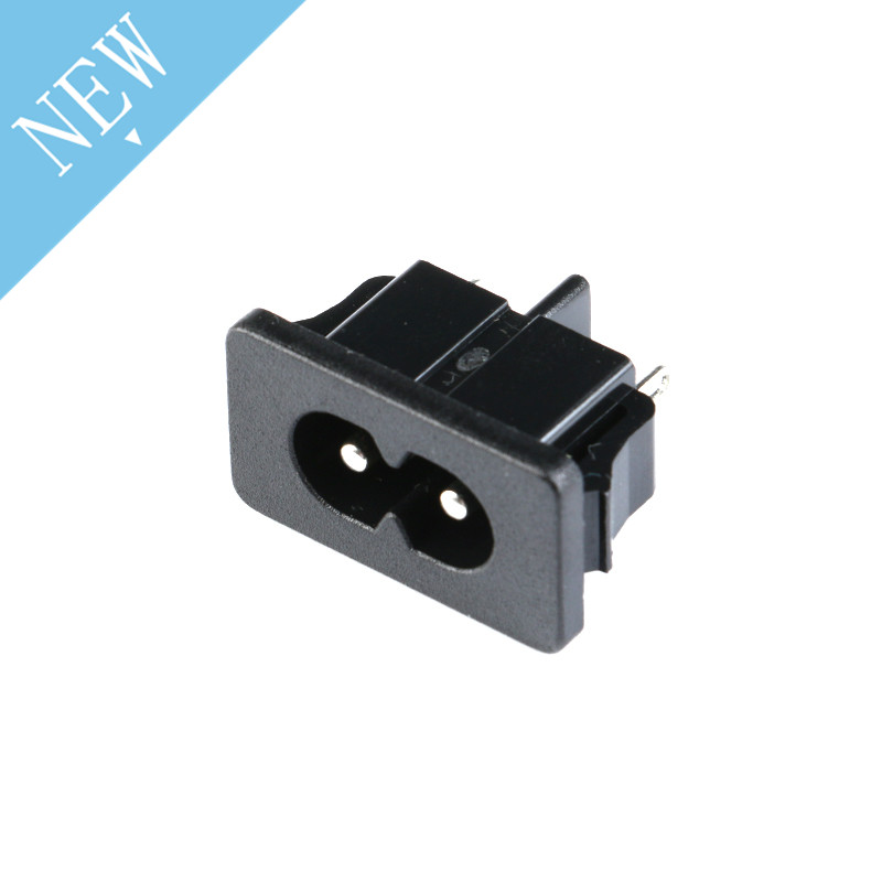 5Pcs AC250V 2.5A IEC320 C8 Male AC 250V 2 Terminal Pins Black Power Plug Inlet Socket Panel Embedded