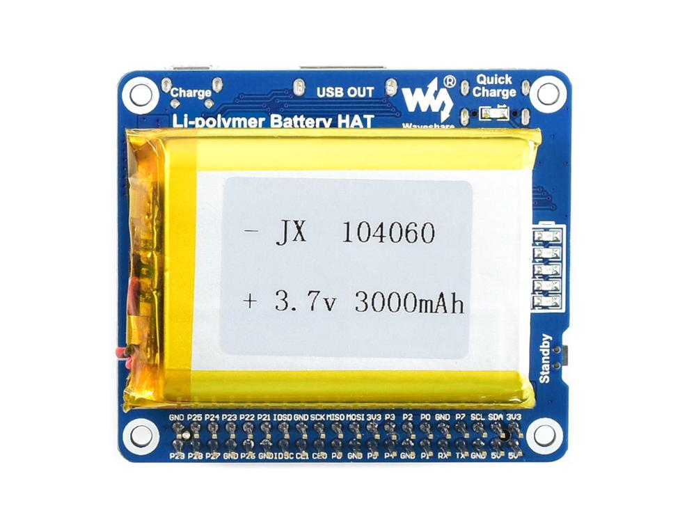 Waveshare Li-polymer <font><b>Battery</b></font> HAT for <font><b>Raspberry</b></font> <font><b>Pi</b></font>, SW6106 Power Bank Solution, with Embedded Protection Circuits image