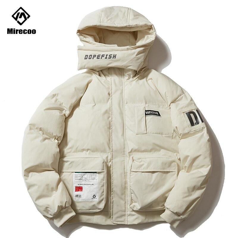 Pockets Hip Hop Jacket Parka Thick Letter Print Harajuku Streetwear Men Windbreaker Hooded Bib Design Winter Jacket Coat 2019