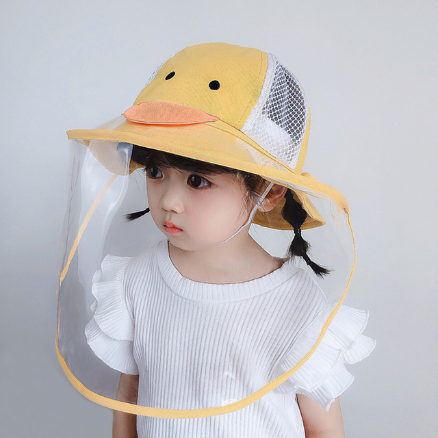 Baby Bucket Hat Protective Full Face Shield Cover Kids Hats Anti Saliva Dustproof Dual-use Sun Hat Cap With Clear Facial Mask 4