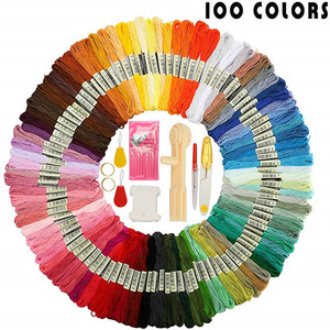 100 Colors Cross Stitch Threads Friendship Bracelet String Kit Embroidery Thread Kit With Floss Winder,Bobbin Sewing Accessories