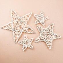 Ротанговая звезда 10/15/20 см, искусственные цветы, венки, Рождественское украшение для дома, ручная работа, подвесная дверь, свадебная стена