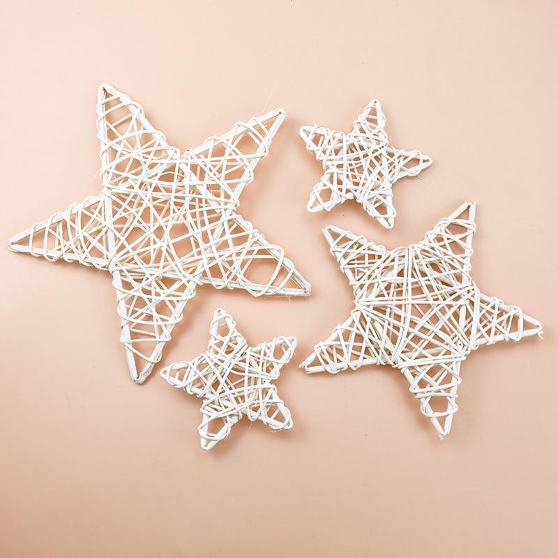 10/15/20cm Rattan Star Frame Artificial Flowers Wreaths Christmas Decoration For Home DIY Handmade Door Hanging Wedding Wall