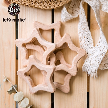 Let's Make 50pcs Baby Wooden Teether Natural Wooden Stars Pentagram Teething Rattle Montessori Inspired Nursing Pendant Toys