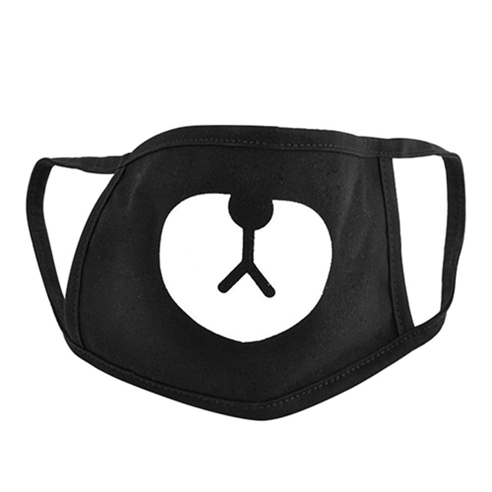 Unisex Face Mask Respirator For Cycling Anti-Dust Black Cute Bear Cotton Mouth