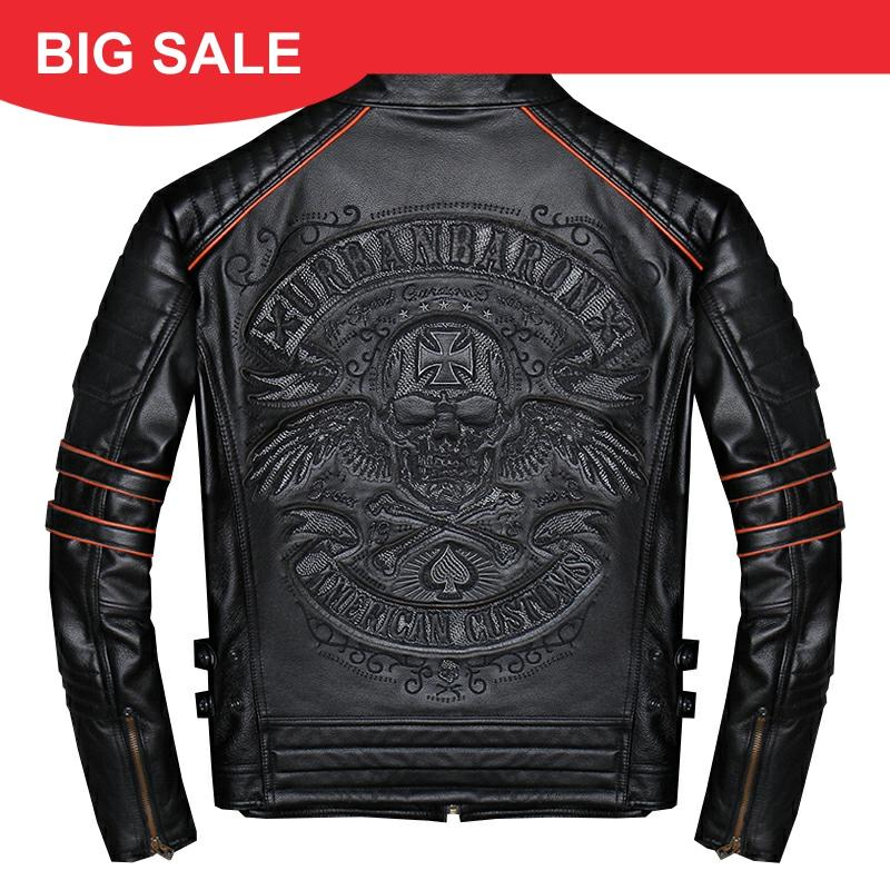 2020 Black Men Skulls Embroidery Slim Fit Biker's Leather Jacket Plus Size 4XL Real Cowhide Short Motorcycle Coat FREE SHIPPING