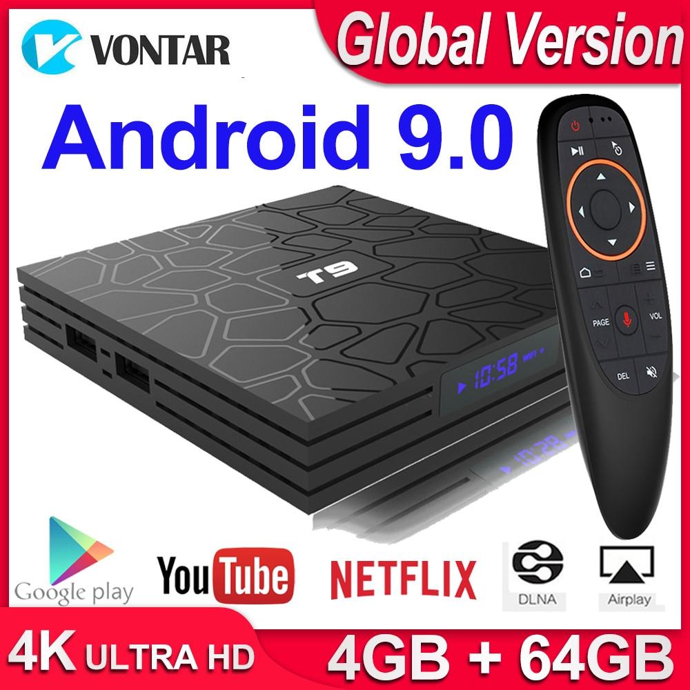Global TVBOX caja de TV inteligente Android 9,0 caja de TV T9 4GB RAM 64 GB/32 GB ROM Rockchip 1080P H.265 Youtube reproductor multimedia 4K Set Top Box