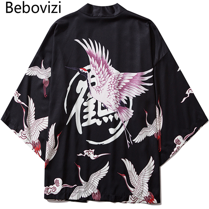 Bebovizi Japan Style Crane Print Men Streetwear Kimono Cardigan Robe Men Unisex Japanese Trend Kimonos Asian Black White Clothes