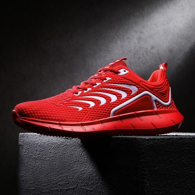 Zapatillas de correr para hombre, transpirables, diseño antideslizante, suela de amortiguación, zapatos deportivos de buena calidad para entrenamiento y trotar 4