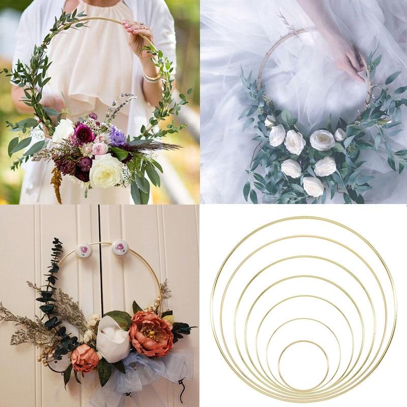 10-40cm Gold Iron Metal Ring Wreath Flower Rack Wedding Bridesmaid Handheld Garland DIY Birthday Hanging Deco Valentinesday Gift