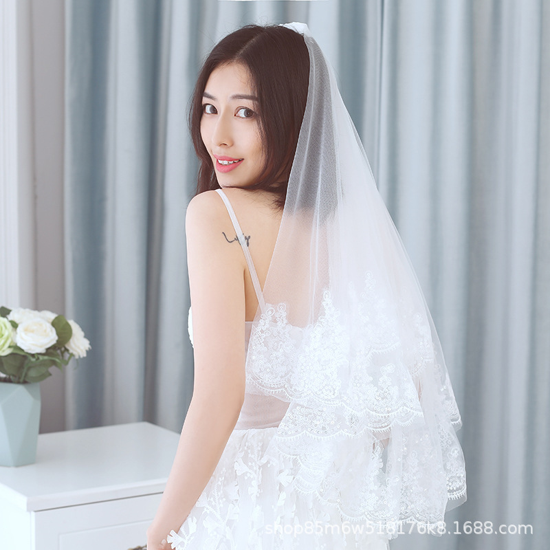 Special Offer New Style Hair Comb Bunk Bed Eyelash Sequin White Double Layer Veil Marriage Yarn Accessories Bride Veil