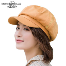 2019 New Womens Letter Octagonal Hat Autumn Winter Vintage Newsboy Beret For Women Casual Cotton Girl Female