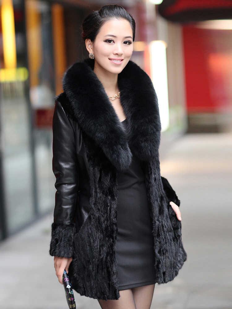 本物のミンクの毛皮コートの女性の本革ジャケット冬のジャケットの女性キツネの毛皮の襟 100% 本物の羊皮ロングコート MY3772