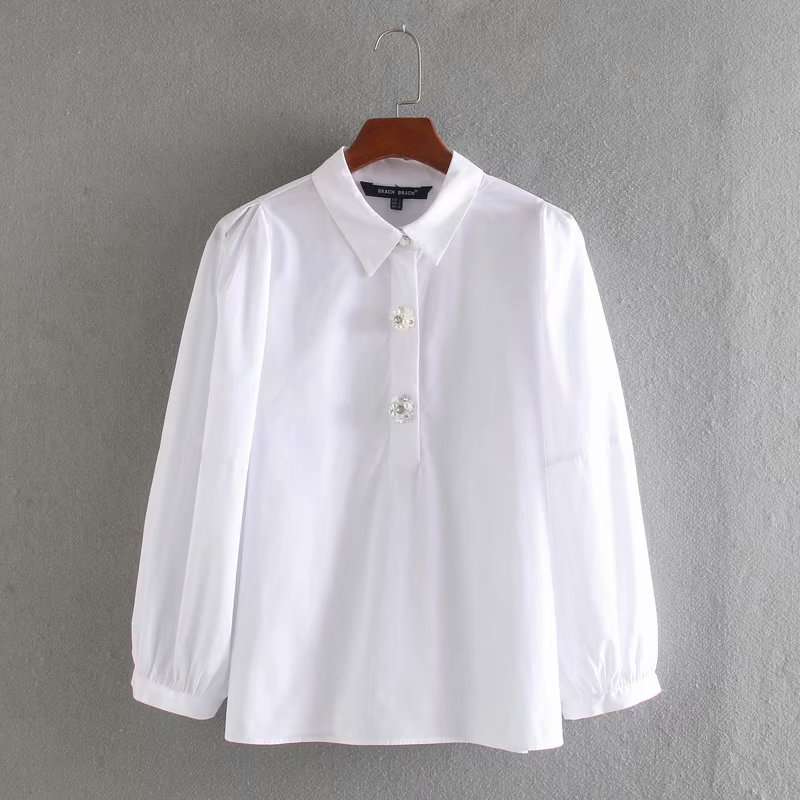 2020 Women Office Turn Down Collar Diamond Buttons Casual Blouse Lantern Sleeve Shirts Female Stylish Solid Tops Blusas LS6427