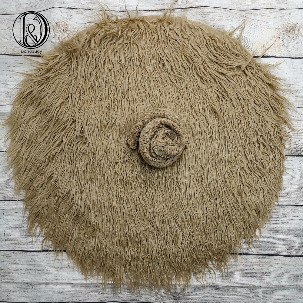 Don&Judy 2pcs/set Round Fake Fur Blanket With Matched Wrap Newborn Photo Props Basket Stuffer Filler Photography Accessories