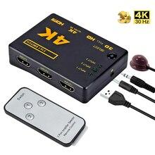 3 порта аудио сплиттер коммутатор в 1 выход концентратор коробка пульт дистанционного управления 1080P HD TV HDMI-совместимый переключатель для ко...