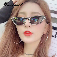 VANEASEL 2019 Fashion Small Cat Eye Sunglasses Ladies Diamond Female Ins Style Cool Girls Womens Luxury