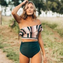 TYAKKVE 2019 new womens high waist backless one-shoulder split swimsuit swimwear Two piece Backless Stripe XL