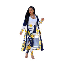 Adogirl floral print jumpsuits African women pencil pants with outer coats patchwork printing sets