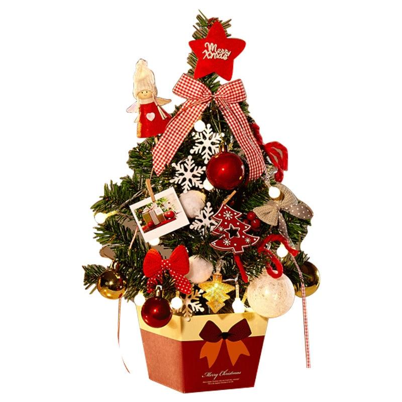 Ev ve Bahçe'ten Ağaçlar'de Noel dekorasyon ağacı masaüstü Mini ağacı 45CM yılbaşı ağacı süsle ağacı kolye dekorasyon title=