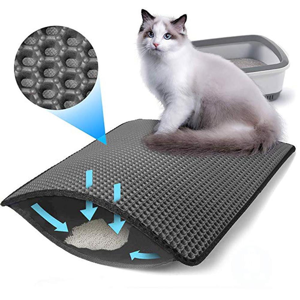 Cat Litter Mat Double Filter Fixed Non-slip Toilet Cat Litter EVA Foam Rubber Material Anti-splash Mat For Pet Cat