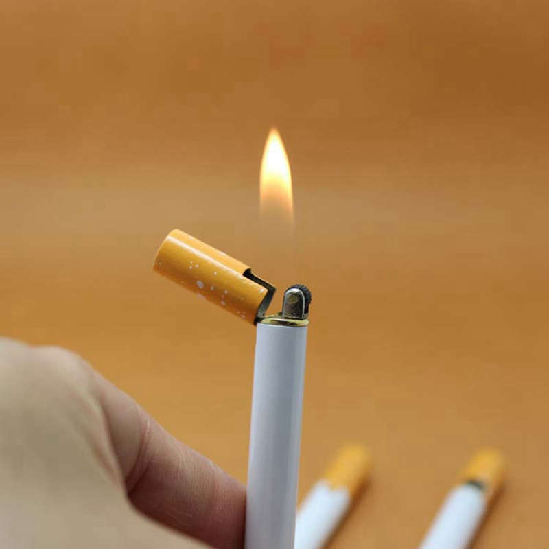 Creative Mini Lighter Refillable Butane Gas Metal Cigarette Shaped Lighter Portable Grinding Wheel Lighter Outdoor Tools No Gas