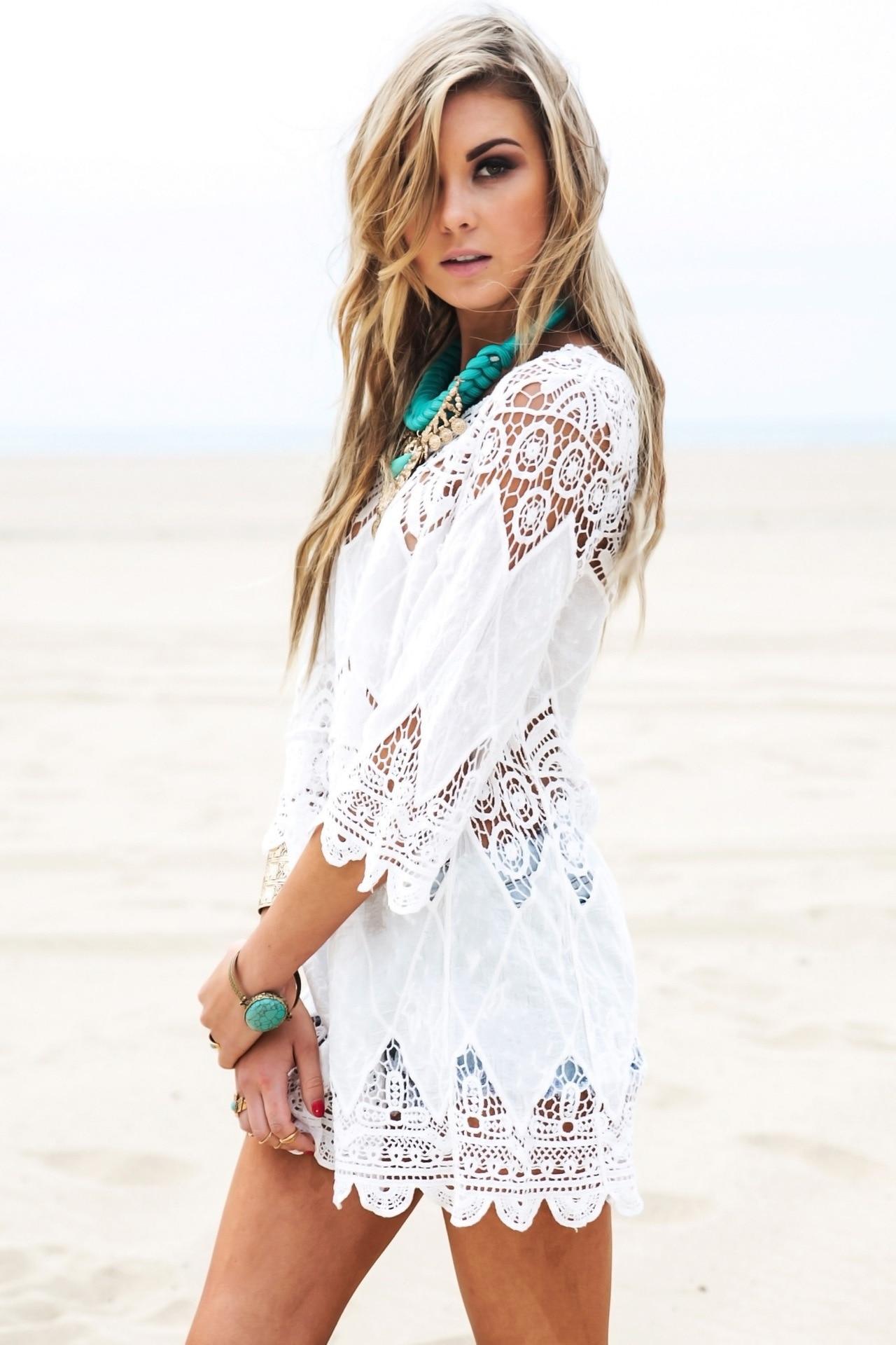 Europe And America Hollow Out Crochet Applique Flower Beach Bikini Outer Blouse Beach Skirt