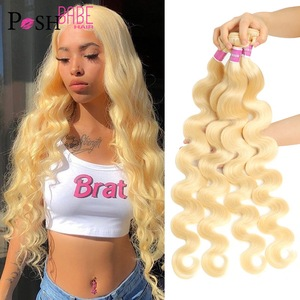 POSH BABE 1/3/4 Bundles Malaysian Body Wave Remy Human Hair Extensions Weave 8 - 36 inch 613 Platinum Blonde Color Bundles Weft(China)