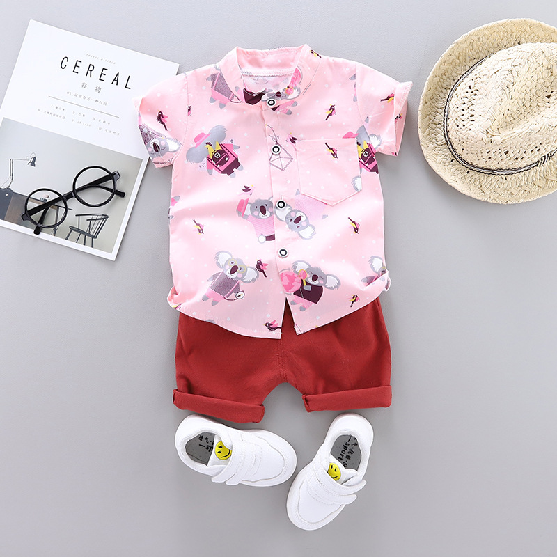 Fashion Baby Boy Clothes Summer Short Sleeve Shorts Shirt Suit Cartoon Big Ears Bear Printed Cotton And Linen Baby Two-piecesuit