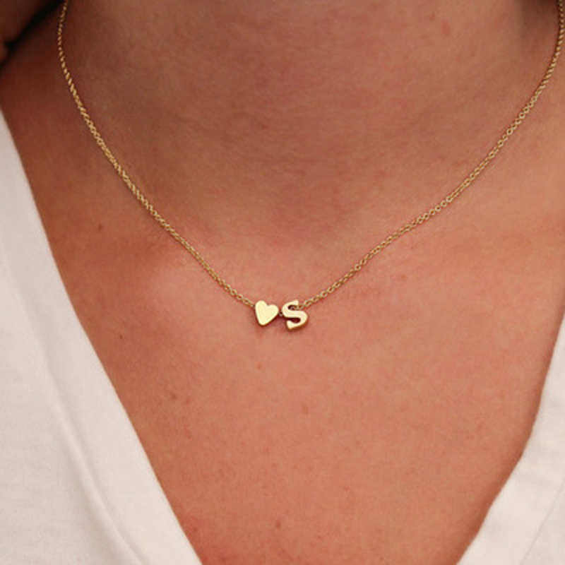 Sumeng colar com pingente, colar com pingente minúsculo de coração e inicial, de ouro, prata, pingente de gargantilha para mulheres, presentes de joias