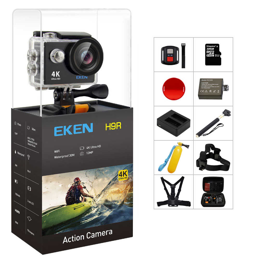 Asli Eken H9/H9R Action Camera 4K Ultra HD 1080 P/60fps Mini Helm Cam Wifi Pergi tahan Air PRO Olahraga Kamera HERO 7 Yi 4K