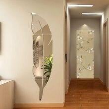 Diy pluma pena 3d espelho adesivo de parede para sala de estar arte decoração da sua casa decalque do vinil adesivo acrílico mural decoração da parede