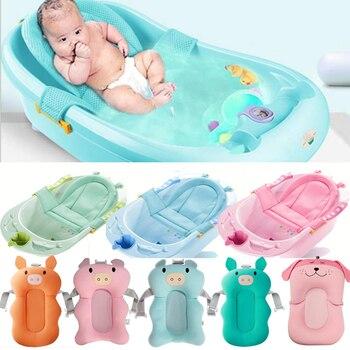 De dibujos animados portátil bebé ducha bañera Pad antideslizante bañera Mat recién nacido seguridad baño cojín plegable almohada