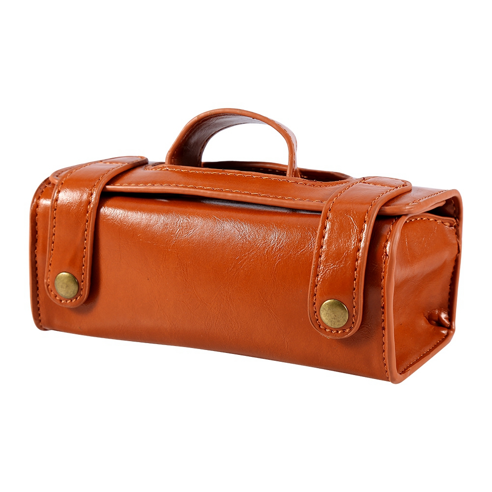Fashion Men's Portable Cosmetic Pouch Brown PU Leather Shaving Brush & Razor Toiletry Bag